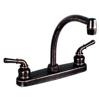 """Picture of Phoenix Faucets  Bronze w/ Teapot Handles 8"""" Kitchen Faucet w/Hi-Arc Spout PF221501 10-0198"""
