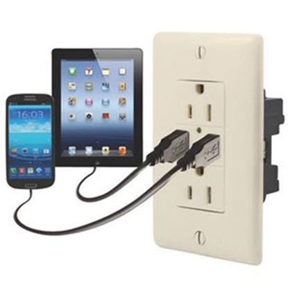 Picture of Diamond Group  Almond 125V/ 20A Dual Receptacle w/ 2 USB Ports DG61071VP 19-1645