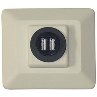 Picture of Diamond Group  Almond Dual 12V USB Power Port Socket DG61032VP 19-1678