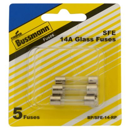 Picture of Bussman  5-Pack 14A SFE Glass Tube Fuse BP/SFE-14-RP 19-3440