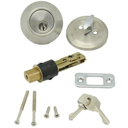 Picture of AP Products  Brass Keyed Entry Door Lock w/Deadbolt 013-222-SS 20-5000