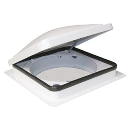 """Picture of Fan-Tastic Vent 900 Smoke 14""""x14"""" Polyethylene Frame Roof Vent 800900 22-0452"""
